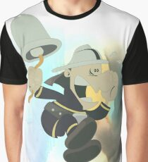 Vintage Cartoon Fireman Ringing A Fire Bell Alarm  Graphic T-Shirt