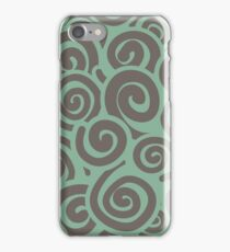 Conceptual Swirls in Mint and Mocha iPhone Case/Skin