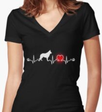 GERMAN SHEPHERD, GERMAN SHEPHERD SHIRT, GERMAN SHEPHERD SWEATSHIRT, GERMAN SHEPHERD HOODIE Women's Fitted V-Neck T-Shirt