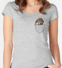 Pocket Dog Dachshund Women's Fitted Scoop T-Shirt
