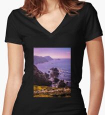 Sunset Over Glenlough - Ireland Women's Fitted V-Neck T-Shirt