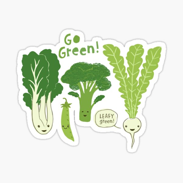 Go Green! (Leafy Green!) Happy Garden Vegetables Sticker