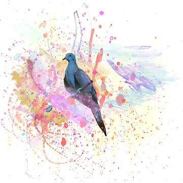 Paint-splatter Watercolor Bird [0.2] Transparent by CiipherZer0