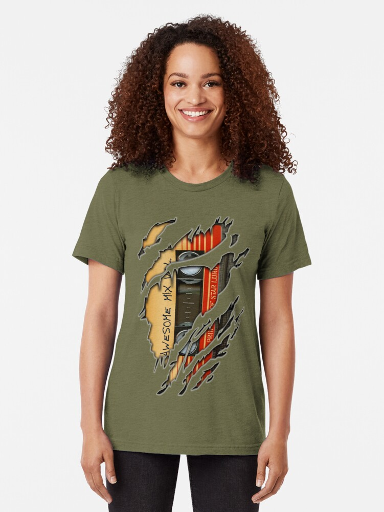Alternate view of Awesome transparent mix cassette tape volume 1 Tri-blend T-Shirt