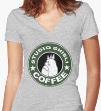 COFFEE: STUDIO GHIBLI Women's Fitted V-Neck T-Shirt