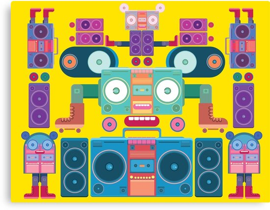 funny and cute vector boombox face pattern by singpentinkhepi