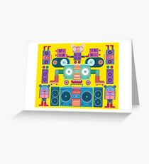 funny and cute vector boombox face pattern Greeting Card