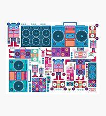 robot boom box tape music vector pattern Photographic Print