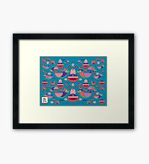 Cute colorful bird pattern vector Framed Print