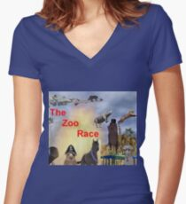 The Zoo Race Rides Women's Fitted V-Neck T-Shirt