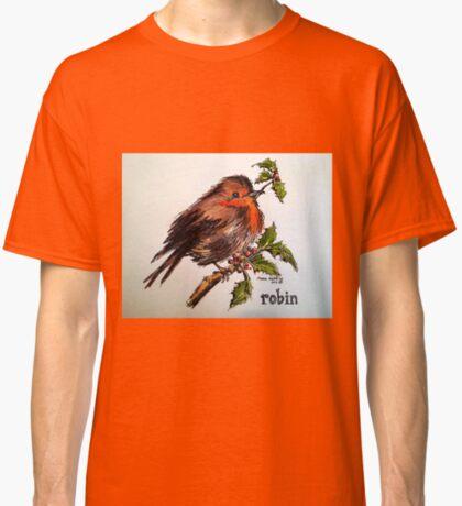 Christmas Robin. Elizabeth Moore Golding© Classic T-Shirt