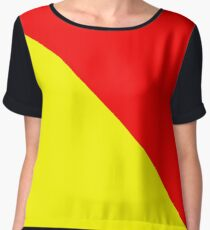 Man Overboard - International Maritime Flag - Signal O for Oscar T-Shirt Sticker Yellow Red Dress Chiffon Top