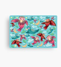 Colorful fun birds pattern  Canvas Print