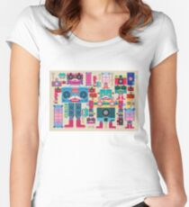 vintage robot and camera composition Women's Fitted Scoop T-Shirt