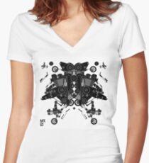 black motorbike robot 1 Women's Fitted V-Neck T-Shirt