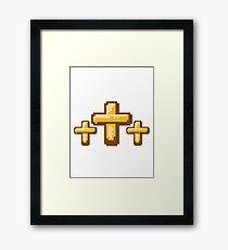3 kreuze cool pixel gamer retro 8 bit muster christ logo design schriftzug jesus christus  Framed Print