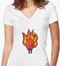 gross halloween skull cartoon Women's Fitted V-Neck T-Shirt