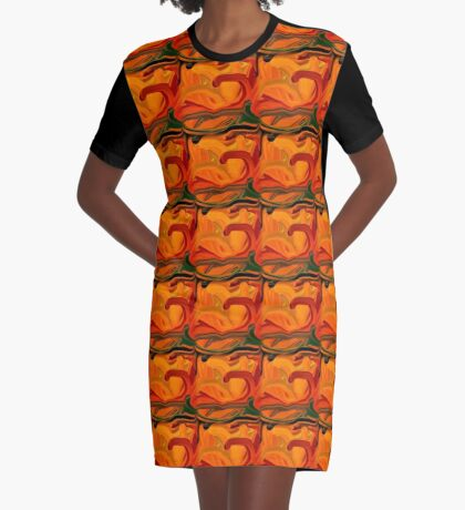 Abstract Colored Worms Design Graphic T-Shirt Dress