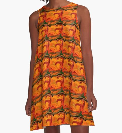 Abstract Colored Worms Design A-Line Dress