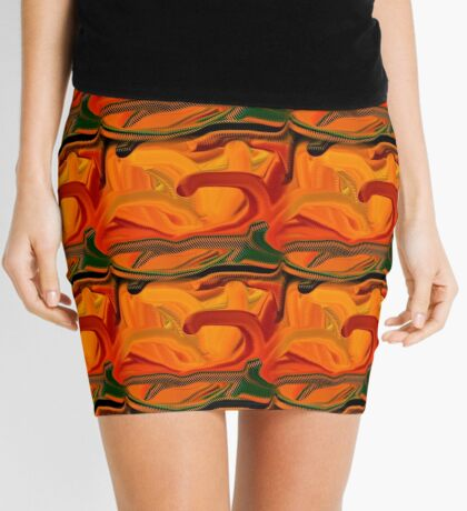 Abstract Colored Worms Design Mini Skirt