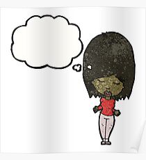 woman with thought bubble Poster