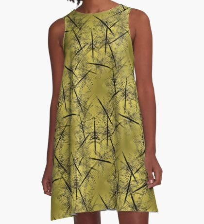 Squiggles And Lines In Gold And Brown Design A-Line Dress