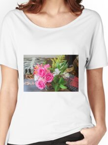 Pink Roses arrangement in a house  Women's Relaxed Fit T-Shirt