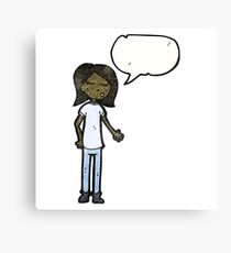 talking girl cartoon Canvas Print
