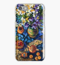 Still life with flowers, pots on a blue tablecloth iPhone Case/Skin