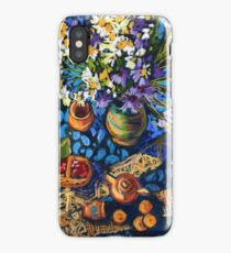 Still life with flowers, pots on a blue tablecloth iPhone Case