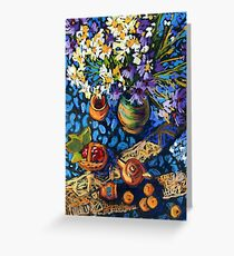 Still life with flowers, pots on a blue tablecloth Greeting Card