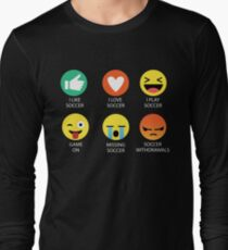 d25997c8f02 I Love Soccer Emoji Emoticon Long Sleeve T-Shirt