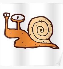 Cute funny cartoon snail Poster