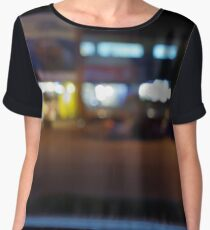 Night urban scene with blurred lights and the shopping center Chiffon Top