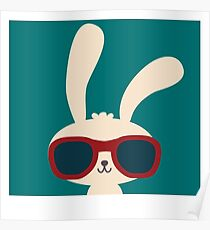 Cool easter bunny with sunglasses Poster