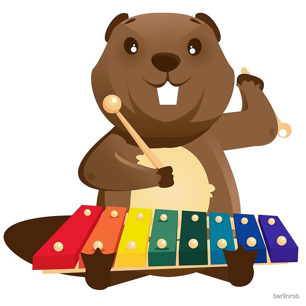 cute happy cartoon beaver playing xylophone