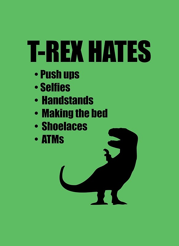 TRex Hates Bullet List Posters By Jezkemp Redbubble - T rex bed