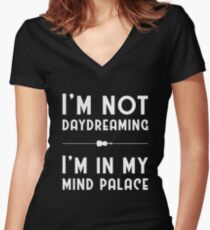 Sherlock, Mind Palace (B&W) Women's Fitted V-Neck T-Shirt