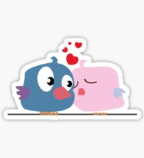 Two cartoon birds kissing Sticker