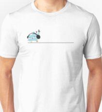 Funny bird dancing with headphones Unisex T-Shirt