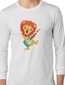 Cartoon lion playing music with electric guitar Long Sleeve T-Shirt