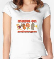 Music on - problems gone! Women's Fitted Scoop T-Shirt