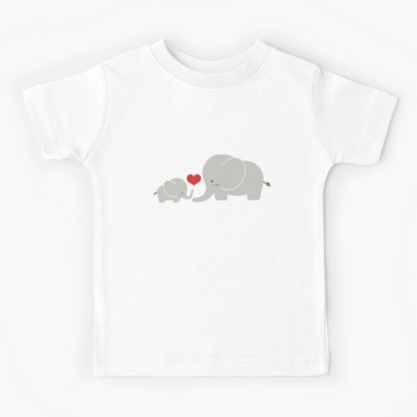 Baby and parent elephant with heart Kids T-Shirt