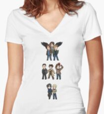Superwholock Chibis Women's Fitted V-Neck T-Shirt
