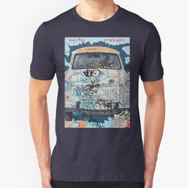 Berlin Trabant Car On The Berlin Wall Slim Fit T-Shirt