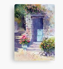 Sunlit Door with Geraniums Canvas Print