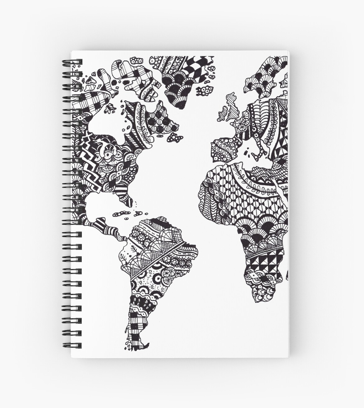 Zentangle world map spiral notebooks by ally gracie redbubble zentangle world map by ally gracie gumiabroncs Images