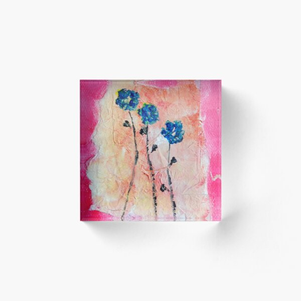 Dancing Flowers Acrylic Block