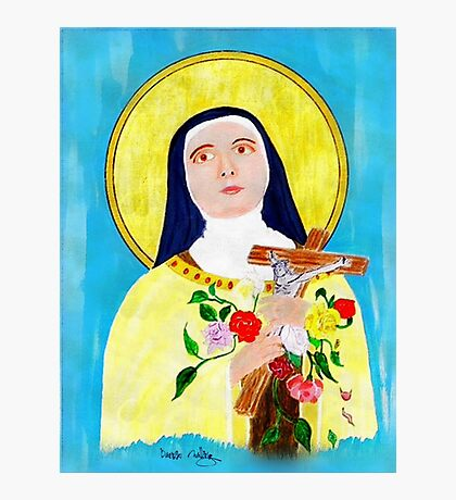 An acrylic painting of St Theresa - The Lady of the Roses Photographic Print