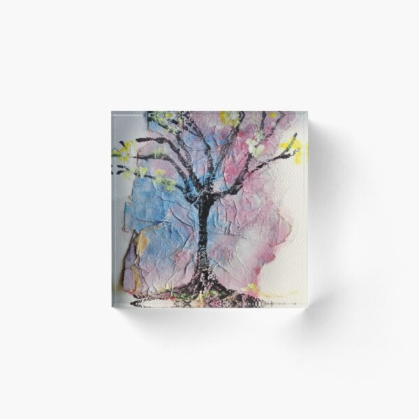 Colorful Textured Painted Tree Acrylic Block